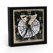 Unique Ballerina Dancing Arrow Wall Table Clock Framed Graphic Art Balle... - $63.11
