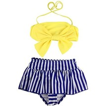 Jastore Baby Girls Big Bowknot Stripe 2 Pieces Swimwear Swimsuits Beach ... - $12.99