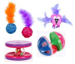 Cat Toys Choose Fun Rainbow Unicorn Wicker Ball Feather Flamingo Spinner... - $9.79+