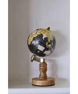 Wooden Vintage Brass Desktop Table Rotating Home Decor Round Black World... - $76.41