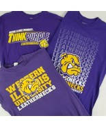 (3) Western Illinois Leathernecks T-Shirts Medium Purple Gold Rocky the ... - $28.14