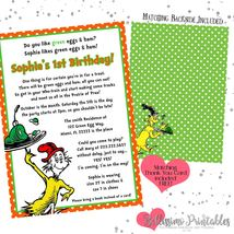 Green Eggs & Ham Birthday Baby Shower Invitation PRINTABLE FREE thank you - £11.55 GBP