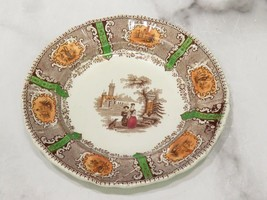 "Antique 5.5"" Staffordshire Polychrome Transferware Plate Side Childs Mother Dog  - $33.66"