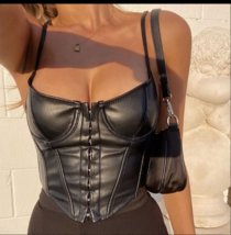 Women's Corset Sexy Black PU Leather Bustier Sexy Crop Top Fashion Lady ... - $26.98