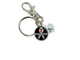 Custom Diabetes Awareness Gray Ribbon Silver Key Chain Initial Family Charm - $10.22