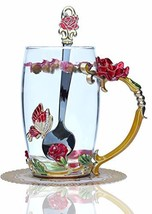 Warelegant Clear Red Butterfly Enamel Tea Cup with Handle Handmade Coffe... - $32.44