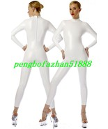 Sexy White Shiny Metallic Body Suit Catsuit Costumes Unisex Back Zipper ... - $32.99