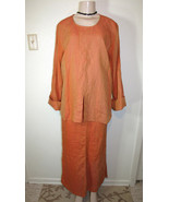 COURTNEY WASHINGTON Sz S Orange 2Pc Lagenlook Linen Top & Long Skirt Set... - $93.06