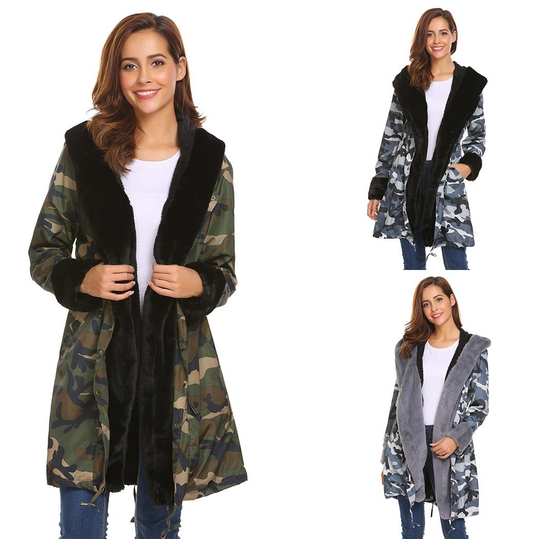 Fashion Women Hooded Casual Long Sleeve Front Button Up Parka Faux Fur Camouflag
