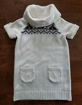 Gymboree Girls Short Sleeve Sweater Dress Size Small 5-6 Ivory Brown Cowl Neck - $7.99