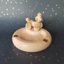 Lefton Pink Spaghetti Poodle Ashtray Ceramic Dog Gold Mid Century 1950s ... - $49.45