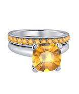 Cushion  Cut Citrine 14k White Gold Over 925 Silver Engagement Bridal Ring  - $72.22