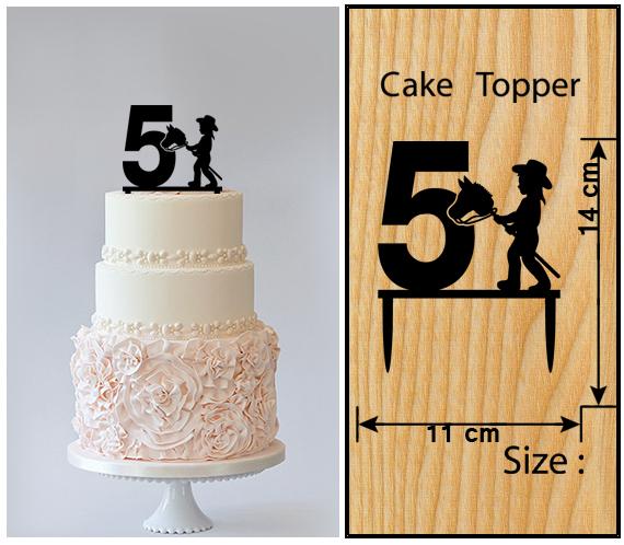 5th Birthday Anniversary Cake TopperCupcake Topper Little Girl Cowboy 11 Pcs