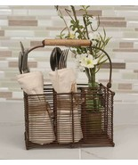 Country new rustic rusty tin Divided CUTLERY /Napkin Caddy w/Handle - $26.18