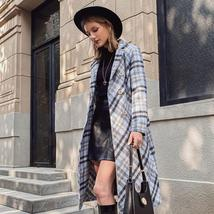 Women's New Style Long English Vintage Plaid Full Length Woolen Trench Coat