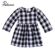 An item in the Baby category: Casual Newborn Girl Princess Dress Kids Plaid Baby Party Wedding Pageant Formal
