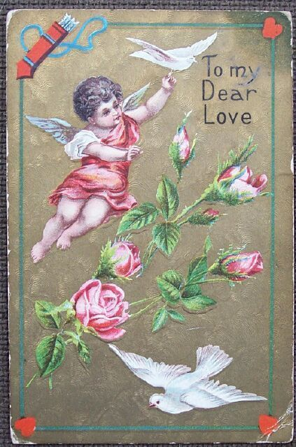 Cherub Angel Doves Pink Roses Valentines Day Post Card