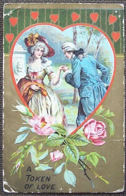 Colonial Couple A Token of Love   Valentine's Day Post Card