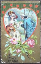 Colonial Couple A Token of Love   Valentine's Day Post Card - $4.00