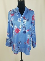 NWOT women XL blouse long tab sleeve pullover floral - $28.60