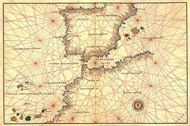 Portolan or Navigational Map of the Spain, Gibraltar & North Africa by Battista  - $19.99+