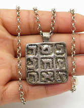 ISRAEL 925 Silver - Vintage Rustic Carved Writing Pendant Chain Necklace... - $49.74