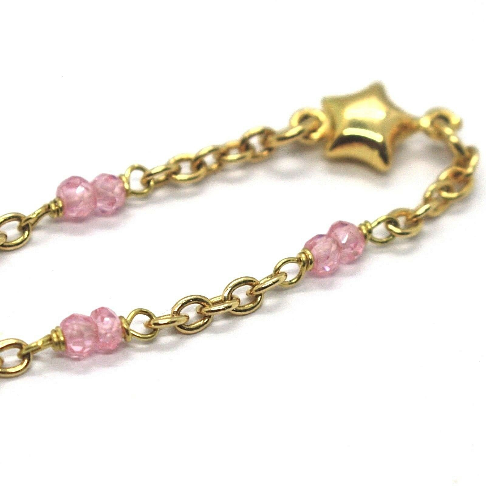 Bracelet Yellow Gold 18K 750 with Salomite Pink, Stars, Italy Made