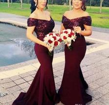 Off Shoulder Burgundy Sequin Prom Dresses  Long  Formal Bridesmaid Dress... - $85.88