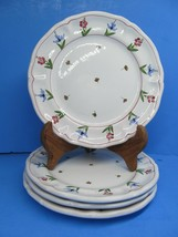 """Cantagalli Firenze Pottery Salad Plates 7 3/4""""  Floral Rooster Hallmark ... - $67.61"""