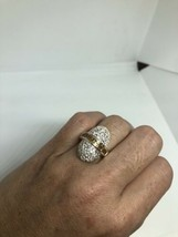 Vintage White Sapphire And Citrine Ring 925 Sterling Silver Size 7 - $107.80