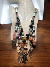 Vintage 1970's Hippie African Bead Quartz Crystal Collar Necklace - $209.88