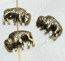 BUFFALO BEAD 3D FINE PEWTER BEAD 10x16x4mm; HOLE 2mm