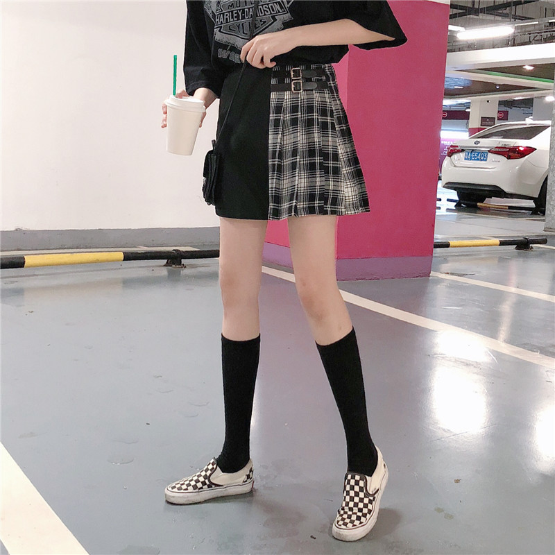 Black Navy Red Mini Plaid Skirt Women Street Style Pleated PLAID SKIRT Plus Size image 2
