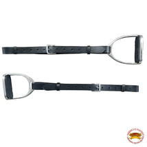 Horse Saddle Stirrups Hilason English Leather Pair Black W/ Hobble Strap U-N219 - $48.50