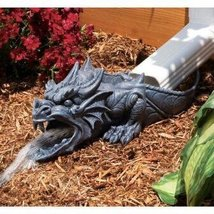 Fantasy Garden Decor Gothic Exotic Dragon Roaring Gutter Drain Spout Sculpture - $49.49