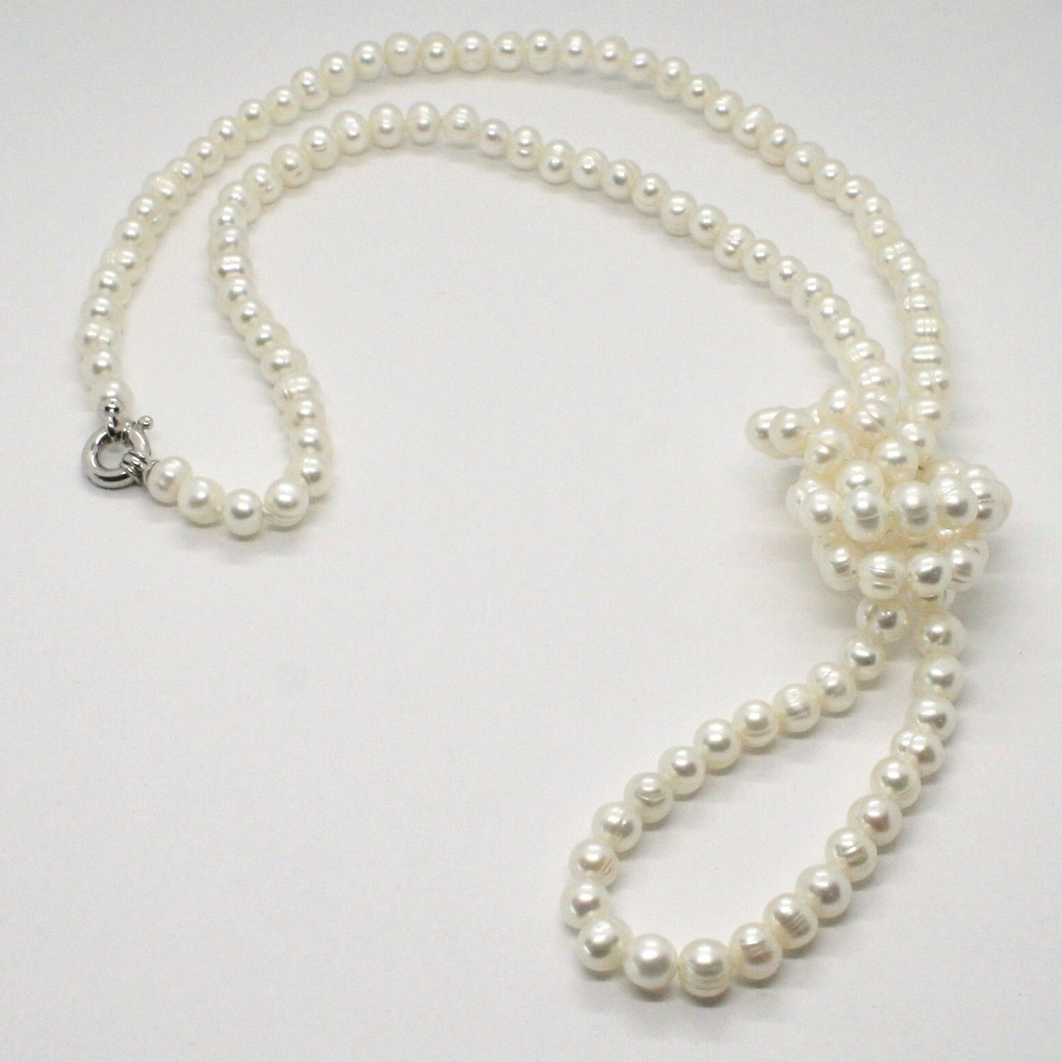 1 metre Long Necklace in 18k White Gold White Pearls freshwater Made in Italy