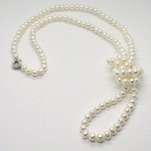 1 metre Long Necklace in 18k White Gold White Pearls freshwater Made in Italy image 1