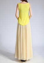 YELLOW High Waist Chiffon Maxi Skirt Women Flowing Long Wedding Bridesmaid Skirt image 10