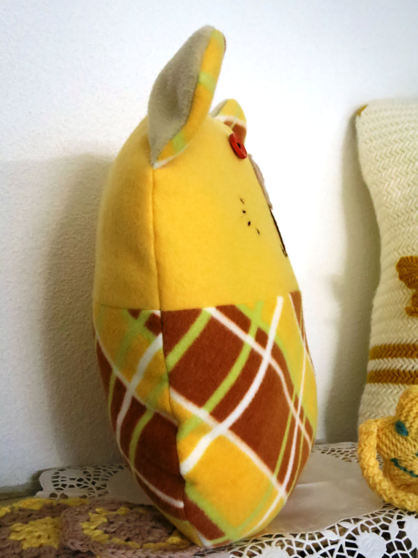 Handmade Decorative Throw pillow, yellow, home decoration,teddy bear shape