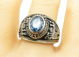 REED 925 Silver - Large Blue Topaz Jr. High School Class Ring Sz 12 - R1... - $62.79