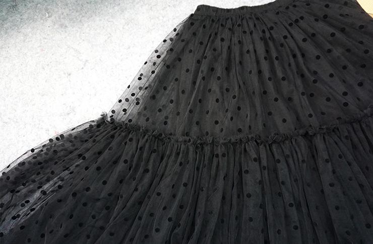 Black dot tulle skirt midi 7