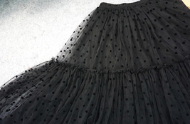Black Tulle Midi Skirt Women A-line Black Dot Midi Tulle Skirt Polka Dot Tutu  image 7