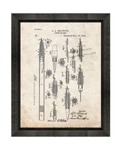 Fountain Pen Patent Print Old Look with Beveled Wood Frame - $24.95+