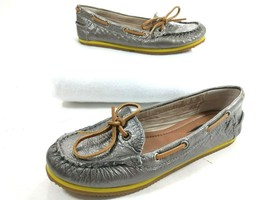 Lucky Brand Silver Flat Boat Moc Toe Loafers Leather Size 6 M - $14.92