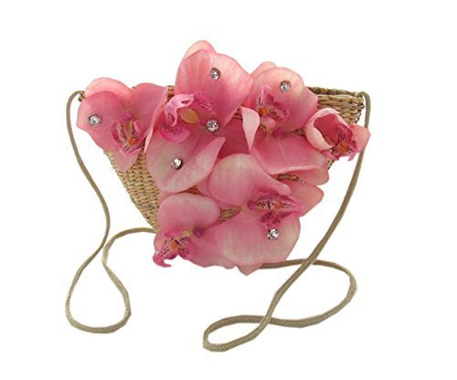 Pink Flower Little Straw Cross-Body Bag