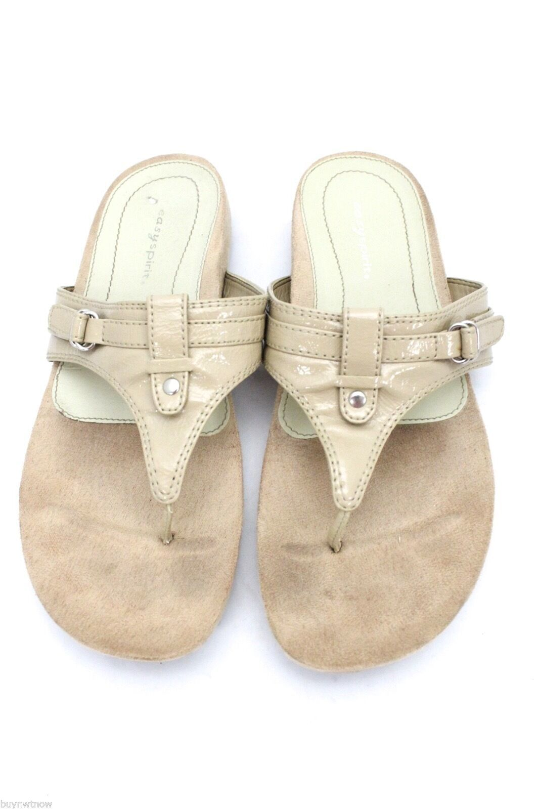 Easy Spirit Nude Patent Thong Sandals Flats 9M Geordie Flip Flop image 1