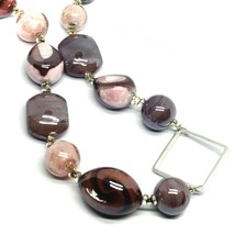 NECKLACE PINK PURPLE ROUNDED DROP, SPHERE, EXAGON MURANO GLASS SQUARE ITALY MADE image 2