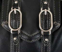 Cole Haan Black Leather Purse w Buckles Stitching n Studs - $38.69