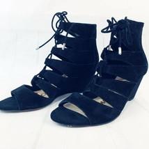 Sam Edelman Womens Santina Gladiator Sandals Leather Suede Wedge Shoes Black 8.5 - $32.71