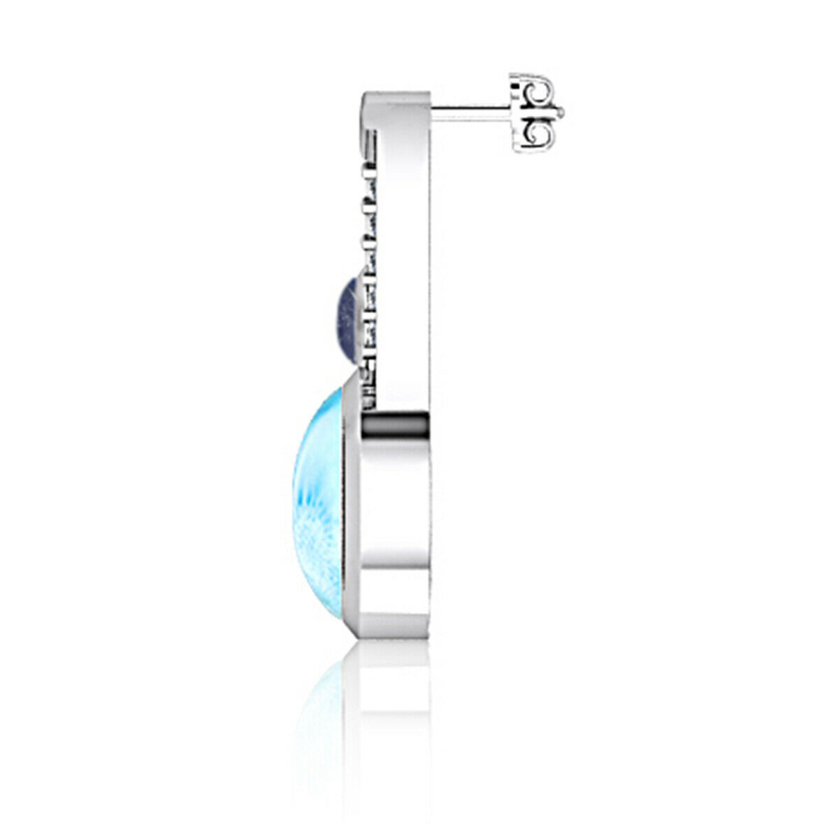 9 MM Larimar 925 Sterling Silver Multi Stone Handmade Stud Earring For Women